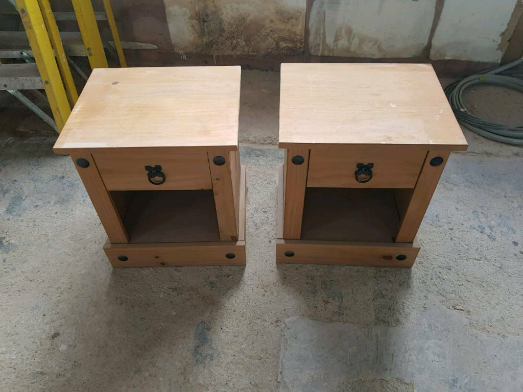 2 wooden bedside tables £25ono