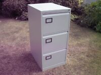three drawer filing cabinet complete with suspension files & key