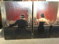 Two Prints On Hessian Frames - Man & Woman At Bar