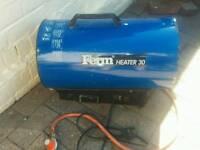 Gas heater blower, garage