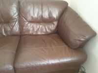 Brown leather corner sofa. Good condition