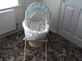 Mothercare baby moses basket with pine stand