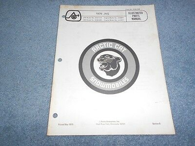 1976 ARCTIC CAT JAG SNOWMOBILE PARTS BOOK ILLUSTRATED FACTORY MANUAL