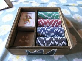 Gentlemans Poker Set In Wooden Box Unused Weymouth Free Local Delivery