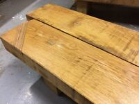 solid oak block style coffee tables with birch/ash inlay details