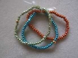 Handcrafted Glass Seed Beads Elastic Bracelets a set of 3 (sorry ribbon not included)
