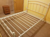 Double Bed (white metal frame) and Mattress