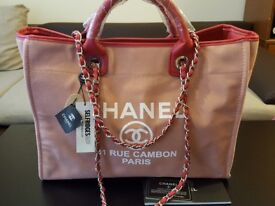 CHANEL rue cambon canvas shopping bag new