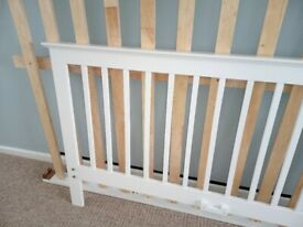 White wood king-size bed frame