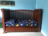 Nursery furniture - sleight cot bed, changing unit & wardrobe
