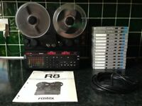 FOSTEX R8 VINTAGE 8-TRACK RECORDER WITH RARE CONTROL PANEL EXTENSION CABLE & 14 TAPES (10 UNOPENED)