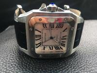 Cartier Santos XL Automatic Black Leather Watch - Brand New