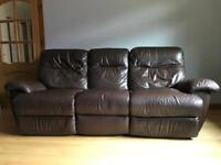 Three piece electric reclining leather suite + extras.