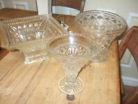 THREE VINTAGE CUT GLASS VASES £5 THE LOT !!