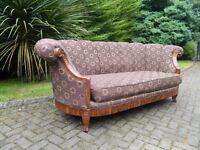 Solid Oak Framed Rolled Armed Sofa (8' Long)