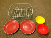 Ikea dish rack, plates and bowls