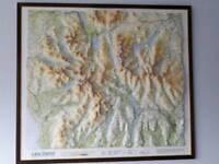 3D Lake District map framed