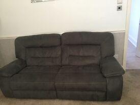 Grey suede reclining sofa
