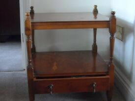 Antique Yew 2-tier Square Occasional Table with drawer