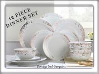 12 Piece Gatsby Porcelain Dinner Set