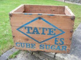 Vintage London Tate & Lyle British Antique Sugar Crate Storage Wooden Box Shop Cafe Display Case