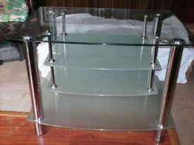 Large Glass 4 tier tv stand with stainless legs and supports 900mm wide X 650mm deep X 630mm height