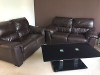 2 seater leather sofa ( 2 peices) with coffee table