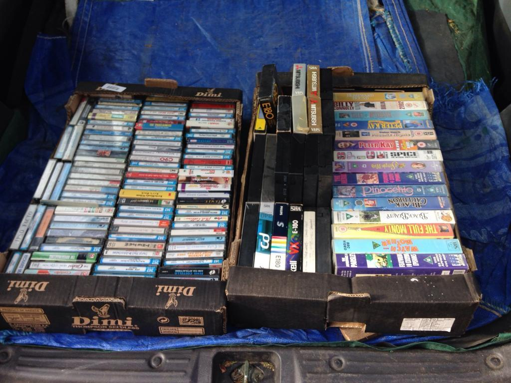 Box Of Vhs Tapes Various Films Box Of Music Cassettes