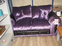 2seater glitz crushed velvet sofa Purple Violet With Diamonds BRAND NEW