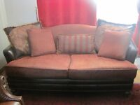 Beautiful Maroon colour Leather and Burgundy fabric Sofa with 5 matching cushions