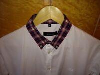 Junk deluxe shirt. White with tartan shirt collar. Size S.