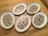 5 RETRO DENBY OVAL STEAK PLATES, Canterbury Design, used