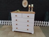 SOLID PINE TALL CHEST OF DRAWERS 4+2 DRAWERS PAINTED WITH LAURA ASHLEY PALE DOVE GREY