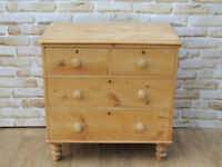 Antique Waxed Chest of Drawers on Bun Feet (Delivery poss)