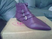 Purple leather boots(8) brand new in box