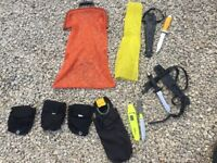 Dive gear job lot includes knives, net bag, cylinder cover and pouches