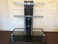 "TV STAND MOUNT STYLE WITH 2 GLASS SHELVES, SUITABLE FOR UPTO 50"" INCH SIZE TELLY, GOOD CONDITION."
