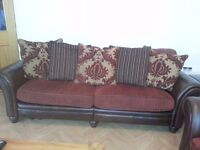 Leather arm scrolled & fabric sofa