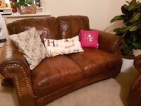 Brown Leather 2 and 3 seater sofa with footstool