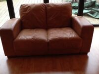 Brown leather 2 seater DFS Sofa
