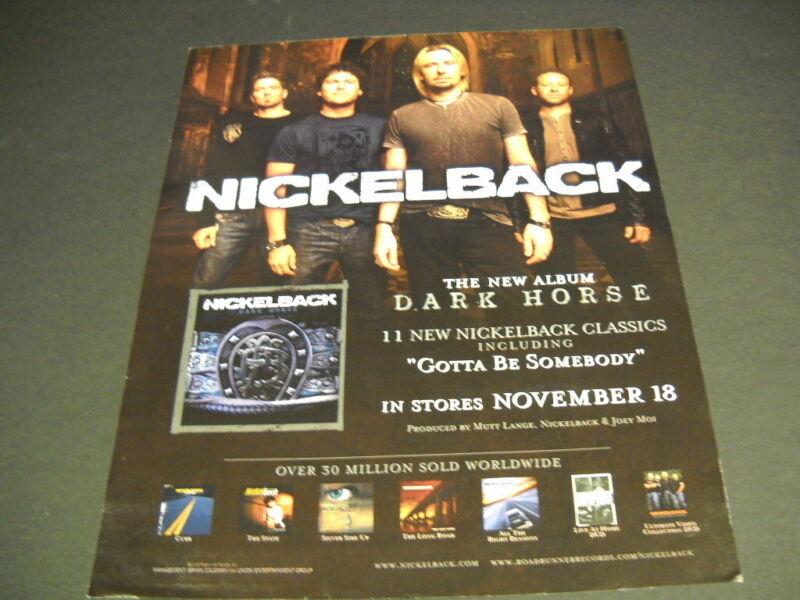 NICKELBACK 2008 Promo Poster Ad the new album is DARK HORSE