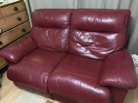 2x 2 seater leather reclining chairs Oxblood Red