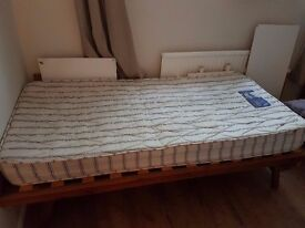 Single wooden bed frame with mattress for sale