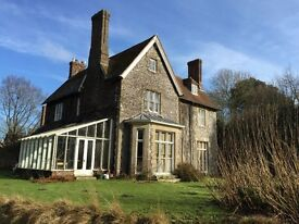 A beautiful large double bedroom with ensuite in a large Old Rectory