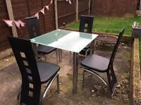 Frosted Glass Table & 4 Chairs