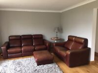 3 seater reclining sofa, 2 seater sofa and footstool
