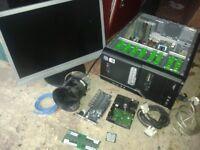 COMPUTER DESKTOP TOWER CASE+PSU, DVDRW INC FAULTY MOTHERBOARD,SPARES +RAM, ALSO 500GB HARD DRIVE