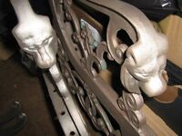 6 VICTORIAN CAST IRON LION HEAD BENCH & TABLE ENDS. RESTORED READY FOR PAINTING.