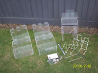 MORPLAN ACRYLIC SLATWALL BOXES,PLATE STANDS.DISPLAY STANDS.PRONGS,PRICE STAMP.STAMP PAD-ALL USED