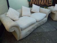 3 seat White Fabric Sofa Delivery Available £15